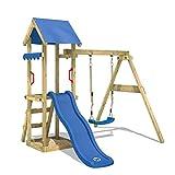 WICKEY Aire de jeux TinyWave Tour d'escalade Maisonnette de jeux avec toboggan et balançoire, bac à sable et échelle à grimper, toboggan bleu + bâche bleu