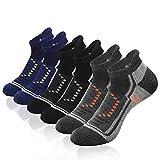 9IUOOM Men's Athletic Ankle Performance Socks, Running Sports Comfort Cushioned Breathable Low Cut Socks(6pack) (grey-blue-black)