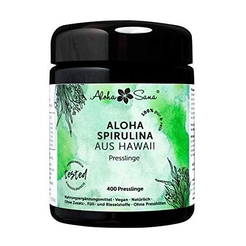 Aloha Sana ® - Hawaii Spirulina Pacifica Algen 400 Presslinge a 400 mg, Ultraviolettglas, laborgeprüft, energetisch getestet, Made in Germany