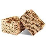 Decorasian Cesta rectangular trenzada de jacinto de agua