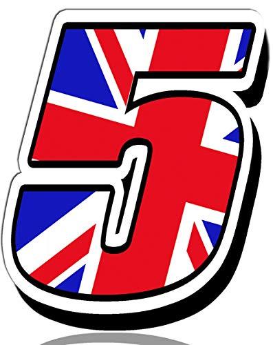 Biomar Labs® Número 5 Bandera Nacional de Gran Bretaña Reino Unido UK Calavera Vinilo Adhesivo Pegatina Coche Auto Motocross Moto Sport Start Racing Tuning N 295