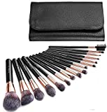 AMMIY Brochas de Maquillaje 16 Piezas con Bolsa Rodillo PU, Brochas Maquillaje Cerdas de Fibra Sintética Suaves y sin Crueldad para (Negro)