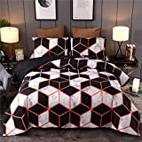 Sisher Marble Comforter Bedding Sets Queen Size, Geometry Pattern Comforter Set for Men Women, Art Style Abstract Orange Black Quilt Sets with 2 Pillowcases