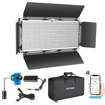 Neewer 960 LED Video Light with APP Intelligent Control System, Dimmable 3200K-5600K Bi-Color Photography LED Lighting Kit for YouTube Studio Outdoor Video Lighting with LCD Screen, Metal Shell