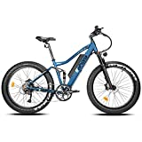 Eahora AM200 750W Ebike 26 Inch 4.0 Fat Tire 48V 14Ah Electric Mountain Bike Hydraulic Brakes,Full Air Suspension, Cruise Control, Electric Bikes for Adults with Removable Battery, E-PAS, 9-Speed