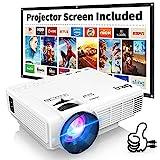 Proyector DR. Q con Pantalla Compatible con 1080P Full HD, Mini proyector de vídeo Compatible con...