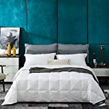 Globon White Goose Down Comforter/Blanket King Lightweight Summer, Noiseless & Extra Soft Down-Proof Shell, 400 Thread Count Hypoallergenic, 18OZ, 700 Fill Power, with Ties, Solid White.