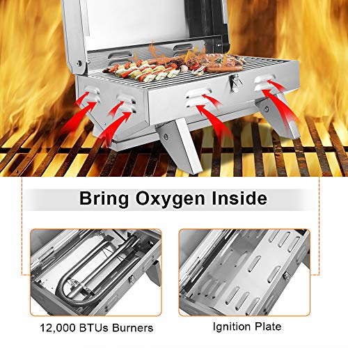 Product Image 6: ROVSUN Portable Propane Gas Grill 12,000BTU, Tabletop Outdoor Cooking Grill for Picnic Camping Tailgating Patio Garden BBQ, <a href=