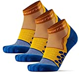 Thirty48 Performance Compression Low Cut Running Socks for Men and Women | More Compression Where Needed ([3 Pair] Mustard/Navy, XLarge - Women 11-13 // Men 12-14)