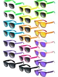 22 Pieces Retro Neon Sunglasses 80s Party Favor Sunglasses Pool Party Sunglasses for Children and...