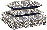 AmazonBasics Comforter Set, King, Blue Damask, Microfiber, Ultra-Soft