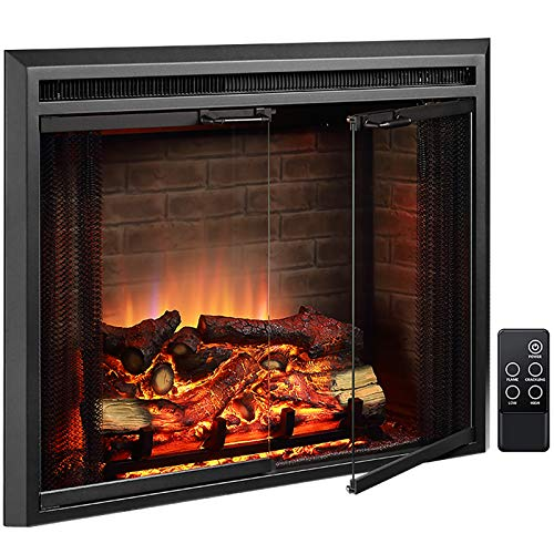 PuraFlame Klaus Electric Fireplace Insert with Fire Crackling Sound,...