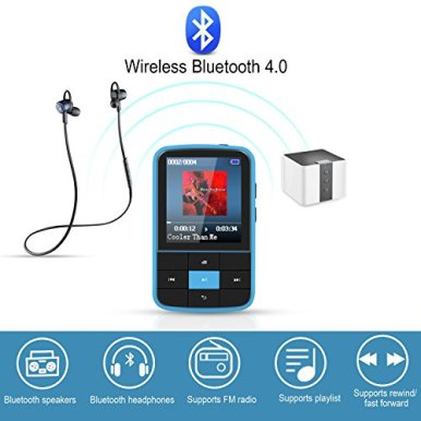 Clip-MP3-Player-AGPTEK-16GB-Bluetooth-MP3-Player-with-Sweatproof-Silicone-Case-and-Sport-Armband-Support-FM-Radio-FM-Recording-Bookmark-Expandable-up-to-128GB