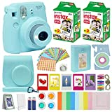 Fuji Instax Mini 9 Instant Camera ICE Blue w/Case + Fuji Instax Film Value Pack (40 Sheets) for...