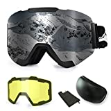 Extra Mile Ski Snowboard Snow Goggles, Magnet Dual Layers Lens with 2 Modeling Lens, Anti-Fog UV400 OTG Protection Sports Ski Goggles Frameless Dual Lens for Men Women Youth Snowmobile Skiing Skating