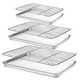 Baking Sheet with Rack Set [3 Sheets+3 Racks], HUSHIDA Stainless Steel Cookie Sheets Baking Pan with Cooling Rack(16'/12.8'/9'), Nonstick Baking Tray Non-Toxic, Heavy Duty&Easy Clean, Dishwasher Safe