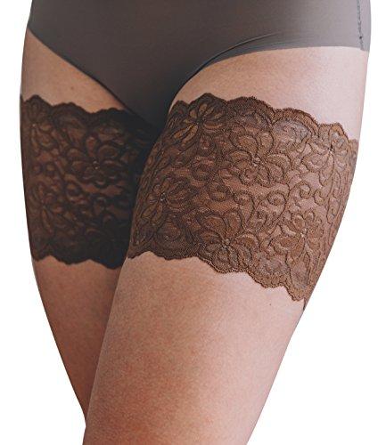 Bandelettes - Fasce in pizzo elastico contro le sfregamento delle cosce, color cioccolato (A) A