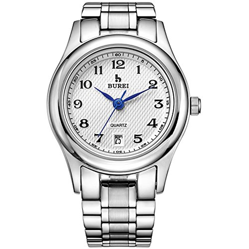 BUREI Damenuhr Analog Edelstahl Uhren Damen Silber Band wasserdichte Armbanduhr mit Datum Armbanduhr Damen Elegant Dünn