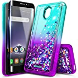NageBee Case for Alcatel Insight (Cricket) / TCL A1 A501DL with Tempered Glass Screen Protector (Full Coverage), Glitter Liquid Floating Waterfall Durable Girls Women Kids Cute Phone Case -Aqua/Purple