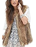 Tanming Women's Fashion Autumn and Winter Warm Short Faux Fur Vests (Large, Grey)