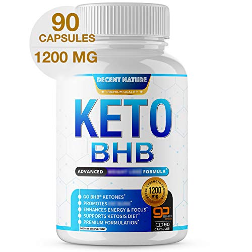 Keto Diet Pills 1200mg - Keto BHB Exogenous Ketones to Support Ketosis, Energy & Focus, Manage Cravings and Metabolism, Keto Pills for Men Women, 90 Capsules, Decent Nature Supplement 1