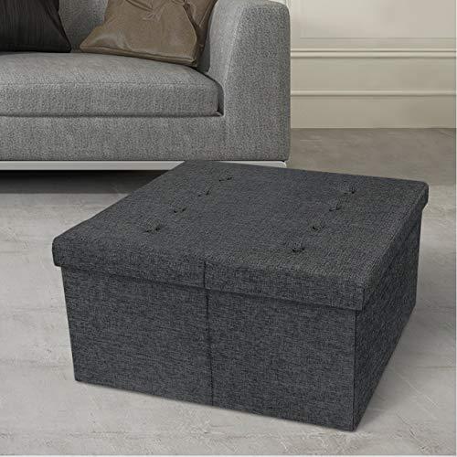 Otto & Ben Top Tufted Folding Tweed Linen Trunk Toomnas Bench Foot Rest, 30x30x15, Dark Grey