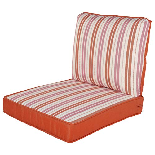 Quality Outdoor Living 29-CS23SB Chair Cushion, 23 x 26, Coral Stripe