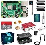 Raspberry Pi 4 4GB con Tarjeta SD de 32GB Precargada con Raspberry Pi OS, Cable 5V 3A con ON/Off, 2 Micro HDMI, 3 Disipador de Calor, Ventilador, Caja Negra y Lector de Tarjetas