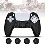 PS5 Controller Grip Skin Anti-Slip Silicone Covers Case with 4Pcs Joystick Silicone Cap Cases,...