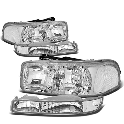 4Pcs Chrome Housing Clear Corner Headlight Bumper Light Lamp Replacement for GMC Sierra Yukon XL 1500 2500 3500 C3 99-07