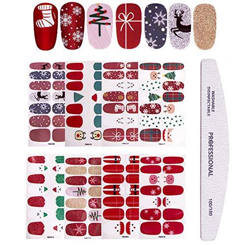 8 Sheets Christmas Nail Stickers Strip Full Nail Wraps Adhesive Nail Polish Stickers with 1Pcs Nail File, Kalolary Deer Snowman Xmas Tree Nail Design Sticker Christmas Nail Decoration Kit