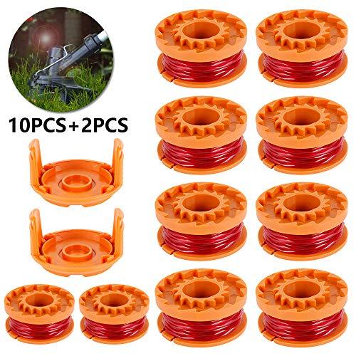 10pcs Rocchetti Filo Decespugliatore in Nylon 3m/1.65mm WORXWG163 WG180 con 2pcs Coperchio di...