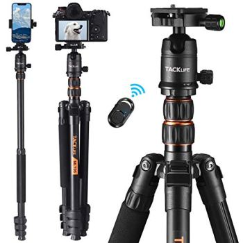 TACKLIFE 77 Inch Tripod with Monopod, Max Load Capacity of 18 Lbs, Aluminum Travel Tripod with 360 ° Ball Head & Quick Release Mount, Bluetooth Remote, Suitable for Smartphone and DSLR Camera -MLT05