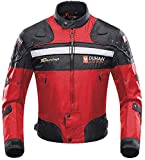 Veste de Moto, Blouson Moto Homme Sport avec Armure pour l'automne Hiver (Red, XXL)