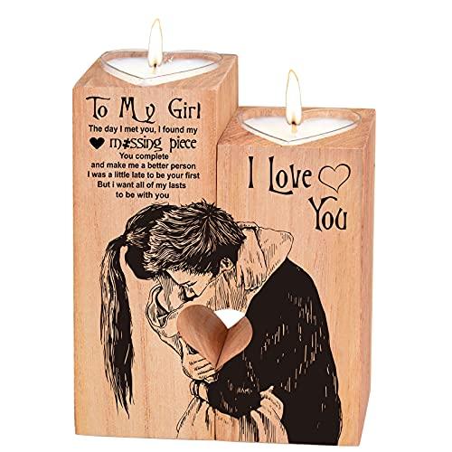 Portavelas en forma de corazón, Navidad, San Valentín, cumpleaños, aniversario, de madera, regalo para novia, regalo para boda, decoración del hogar (para mi niña)