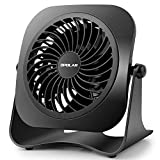 OPOLAR 4 Inch Mini USB Desk Fan, 2 Speeds, Lower Noise, USB Powered, 360 Up and Down, 3.8 ft Cable, Powerful Black Fan for Home and Office