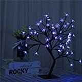 Bonsai Tree Light Artificial Tree Led Flower Cherry Blossom Light Adjustable Branches Battery Operated for Room Decoration and Gift (Blue)