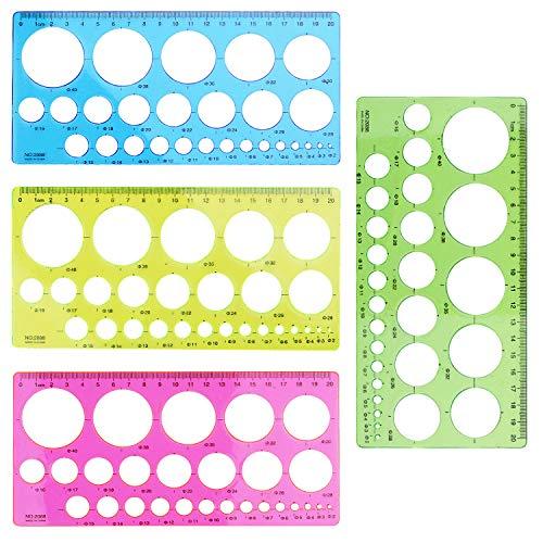 Kreis-Schablone, 4 stk. Kreis Vorlage Schablonen Kunststoff aushöhlen Zeichnung Vorlagen Lineal für Kreise Durchmesser 2-40mm, 4 Farben