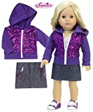 Sophia's 18 Inch Doll 2 Pc. Outfit, Purple Sequin Hooded Sweatshirt & Denim Skirt, Perfect for The 18 Inch American Girl Clothes & More Purple Sequin Hoodie & Jean Skirt