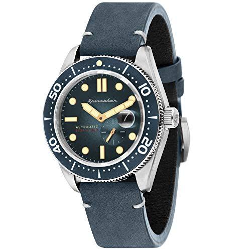 SPINNAKER Croft Herren-Armbanduhr 43mm Armband Leder Blau Automatik SP-5058-01