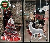 Yuson Girl Décoration Noël Sticker Rennes Sapin Autocollants de Fenêtre Verre Murale Muraux pour Noel Déco