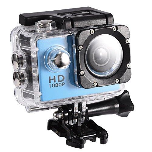 AGAB Videocamera Sportiva Full HD da 5,1 cm, 1080p, 12 MP, Subacquea, Impermeabile Fino a 30 m, Kit di Accessori di Montaggio per Immersioni, Bici, Alpinismo, Nuoto