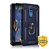 TJS Phone Case for LG K40/K12 Plus/X4/Solo LTE/Harmony 3/Xpression Plus 2, with [Full Coverage Tempered Glass Screen Protector][Impact Resistant][Defender][Metal Ring][Magnetic Support] Armor (Blue)