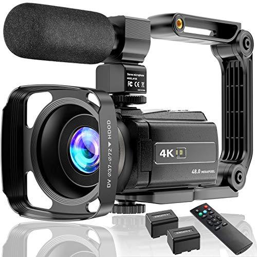 Videocamera 4K UHD 48MP 60FPS Wi-Fi IR Visione Notturna 16X Zoom Digitale Registratore 3.0'IPS Touch Screen Videocamera Vlog per YouTube con Microfono,Stabilizzatore,Paraluce,Telecomando, 2 Batterie