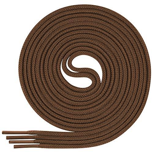 Lenzen 3 Pares Cordones Finos de Vestir I Cordones Finos Redondos para Zapatos (65 cm, marrón claro)