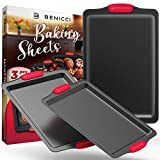 BPA Free Nonstick Baking Sheets w/ Silicone Handles in a Pack of 3 - Deluxe Cookie Sheets with Large, Medium & Small Bakeware Pans Lets You Bake The Perfect Cookie or Pastry Every Time