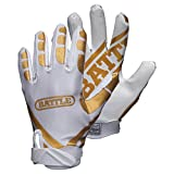 Battle Ultra-Stick Football Gloves – Ultra-Tack Sticky Palm Receivers Gloves – Pro-Style Receiver Gloves, Adult, Adult X-Large, Gold/White