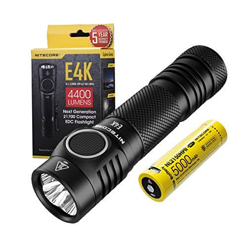 Nitecore E4K - LED Taschenlampe Extrem Hell - 4400 Lumen IP68 LED Wasserdicht ([ Inklusive Wiederaufladbar 21700 Akku & USB C Kabel ])