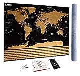 Carte du Monde à gratter XXL avec Drapeaux, détaillée et précise - Cadeau idéal pour les...