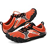 hiitave Men/Womens Minimalist Barefoot Running Shoes Lightweight Gym Athletic Walking Shoes for Outdoor Sports Cross Trainer Orange/Black US 8.5 Men, US 9.5 Women